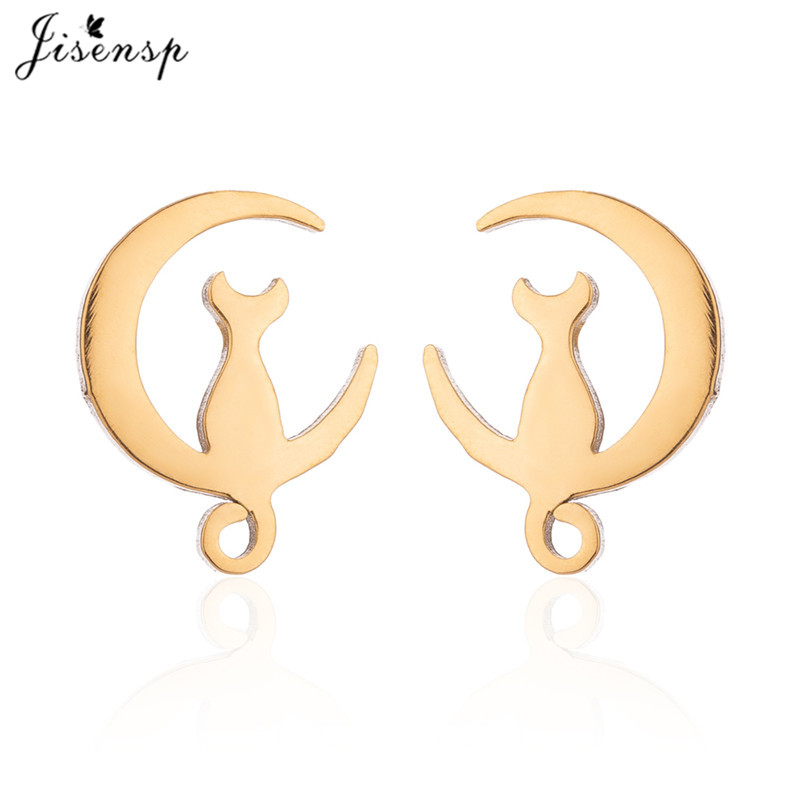 Jisensp Fashion Jewelry Earrings Stainless Steel Kitty Cat Stud Earrings for Women Bijoux Gift Cute Earrings pendientes mujer 20 image