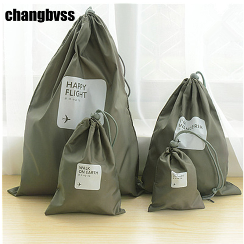 4 Pcs/Set Travel Pouches Foldable Waterproof Travel Organizer Clothes Sorting Storage Bag Laundry Shoes Drawstring Storage Bag