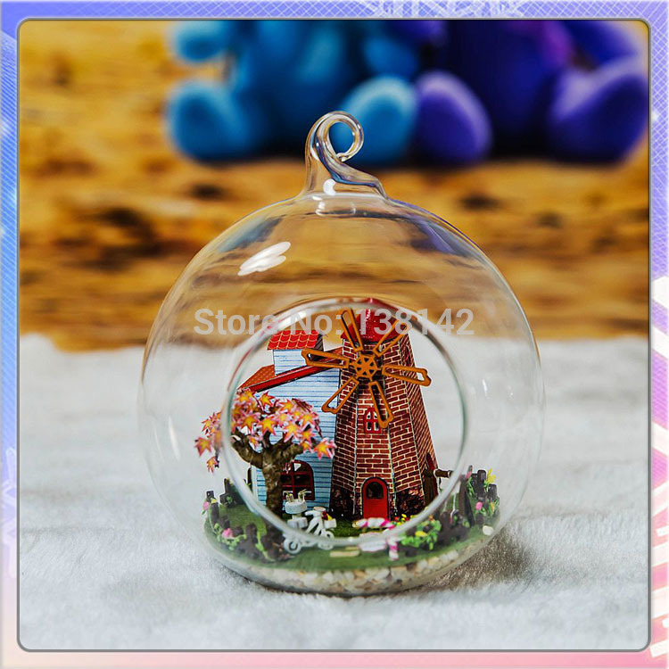 G014 Dutch windmill creative DIY dollhouse glass balls wooden doll house with lights christmas miniatures gifts free shipping