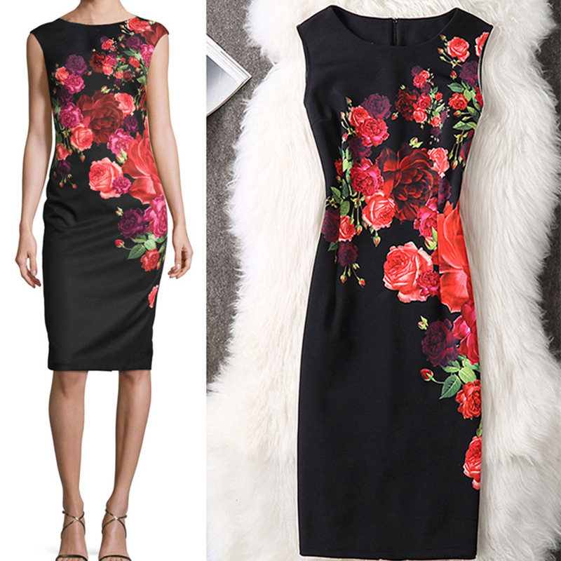 Fenghua Summer Dress Women 2017 Casual Plus Size Pencil Bodycon Office Dress Sexy Floral Print Party