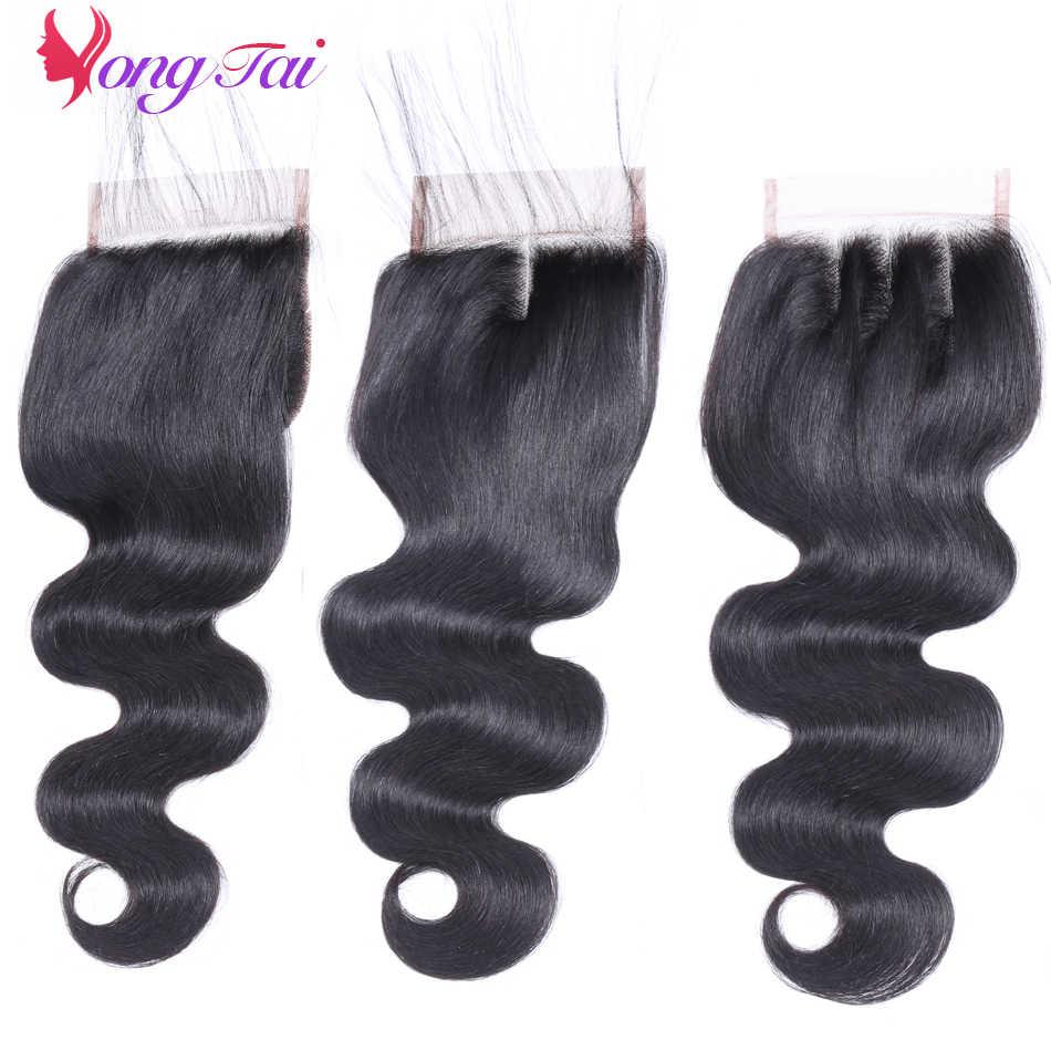 YuYongtai волос индийский номера Волосы remy Расширение объемная волна с закрытием кружева 100% человеческих волос Ткань натуральный черный 4 Связки
