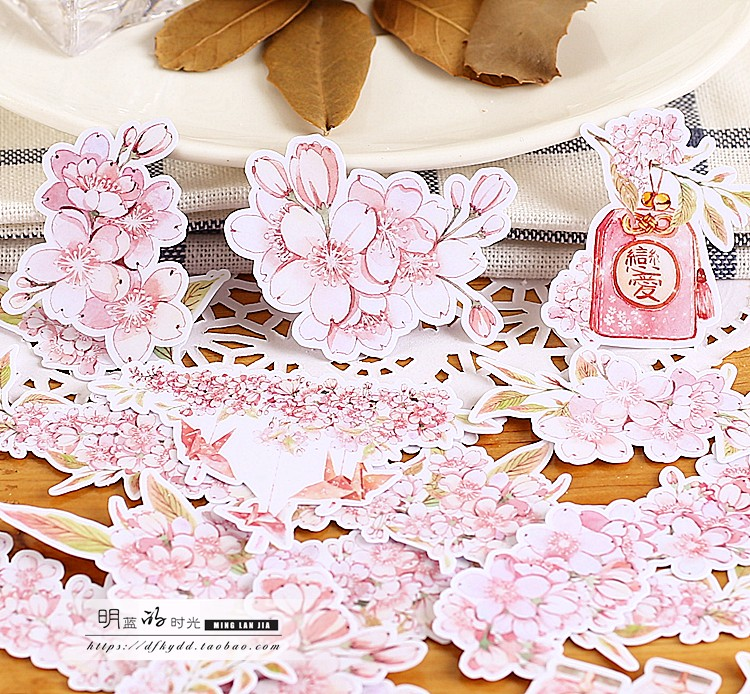 18pcs Cute  Self-made Cherry Blossom / Sakura Stickers/flower Scrapbooking Stickers /Decorative Sticker /DIY Craft Photo Al
