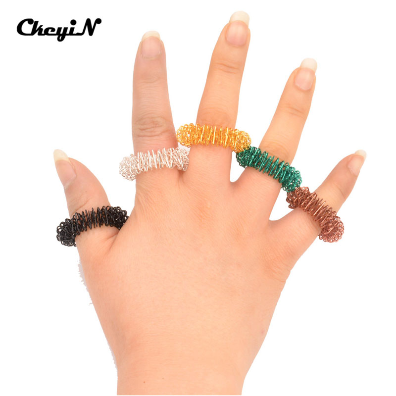CkeyiN 5Pcs/Lot Stainless Steel Finger Massage Ring Acupuncture Ring Health Care Body Massager Slimming Analgesic Ring AM020
