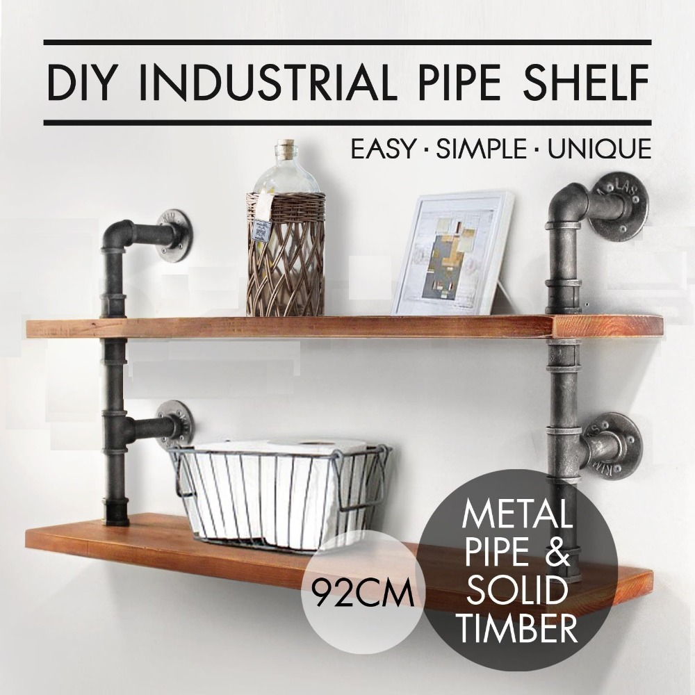 loft Industrial Rustic Urban Iron Pipe Wall Mounted Shelf 2 Layers Wooden Board Shelving Home Restaurant Bar Shop Decor Storage