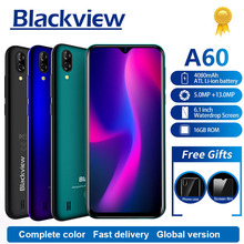Blackview A60 الهاتف الذكي 4080mAh 1GB + 16GB رباعية النواة أندرويد 8.1 6.1 بوصة 19.2:9 شاشة 13.0MP كاميرا خلفية مزدوجة 3G الهاتف المحمول