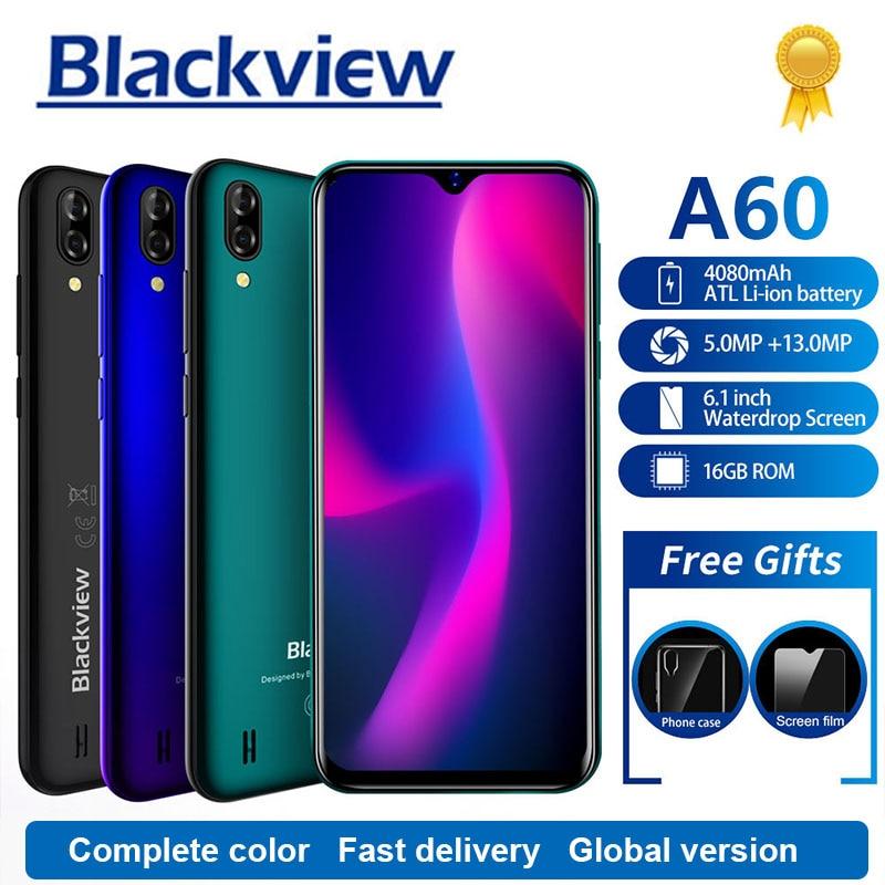 Blackview A60 Smartphone 4080 mAh 1 GB + 16 GB Quad Core Android 8.1 6.1 pouces 19.2: 9 écran 13.0MP double caméra arrière 3G téléphone portable