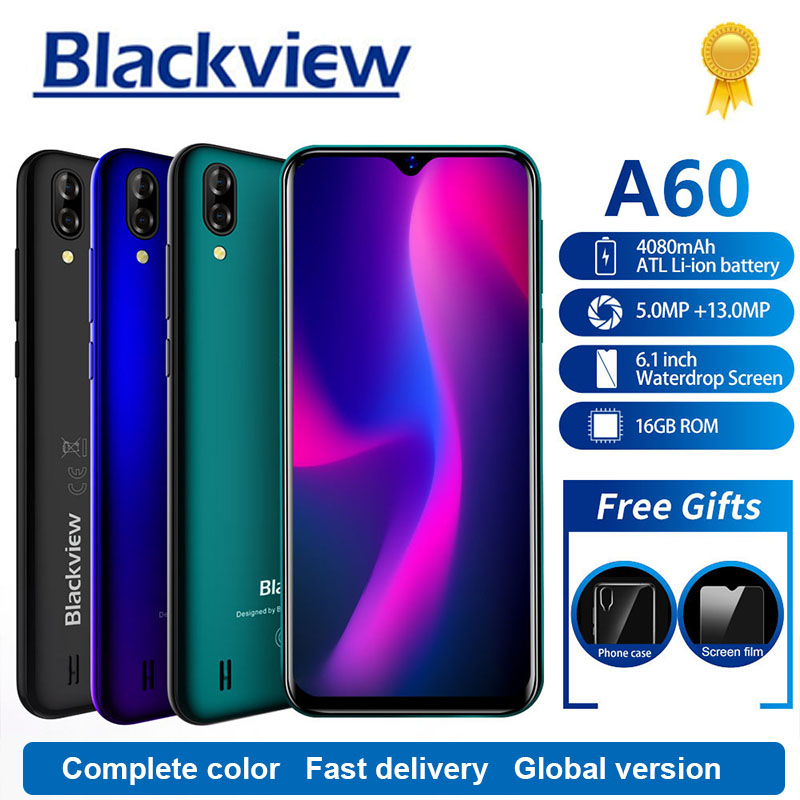 Blackview A60 Smartphone 4080mAh 1GB + 16GB Quad Core Android 8.1 6,1 zoll 19,2: 9 bildschirm 13.0MP Dual Hinten Kamera 3G Handy