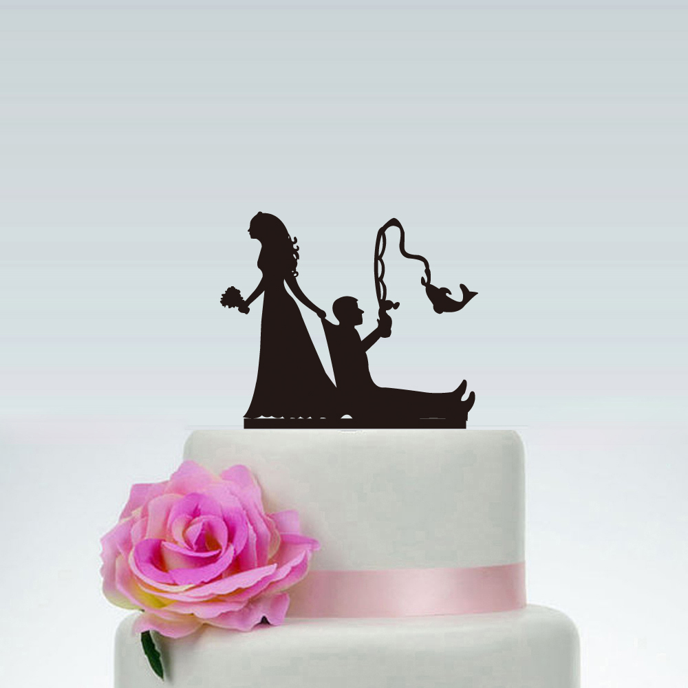 Funny Wedding Cake Topper Fishing Style Bride Groom Mr Mrs Cake Toppers With Commemorate Acrylic Cake Toppers Aliexpress