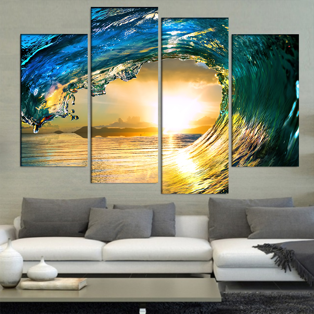4 Pcs/Set Large Abstract Blue Ocean Wave Canvas Print Painting ...