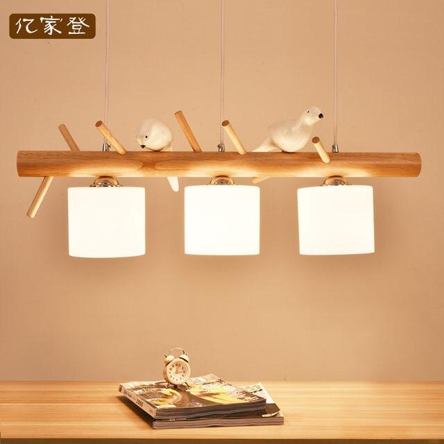 Online Shop Japan solid hout vogel hanglamp vogels eenvoudige ...
