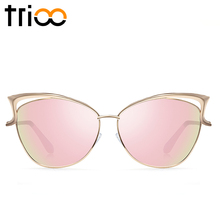 TRIOO High Quality Cat Eye Women Sunglasses Rose Gold Metal Oculos de sol Reflective Summer Pink Sun Glasses Vintage Sexy Shades