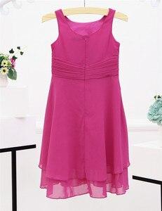 Image 4 - Iefiel 소녀 쉬폰 매듭 허리와 파란 꽃 소녀 드레스 공주 미인 대회 결혼식 신부 들러리 생일 파티 여름 드레스