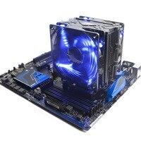 Dual 12 cm 9 Blades Fan Blue Light Intelligent LED Fan CPU Quiet Cooler Heatsink for Intel LG775 LG115X for AMD FM2 FM1 AM3