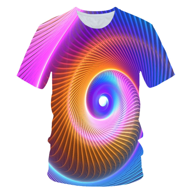 T-Shirt Children Printing Black Girls Boys Summer 3d Hole-Whirlpool Vortex Colorful 4-20-Years