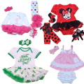 Newborns First Birthday Baby Girls Outfits Sets Easter Child Girl Ruffle Tutu Skirts 1st Crown Minnie Mickey Flower Clothing Set