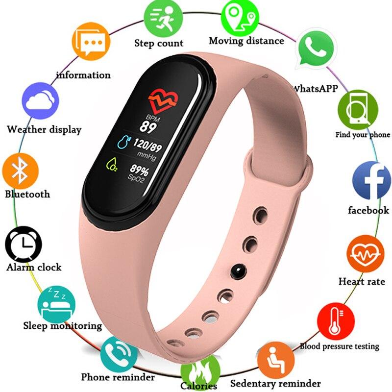 Mais novo m4 pulseira inteligente rastreador de fitness banda inteligente monitor de freqüência cardíaca whatsapp facebook lembrete