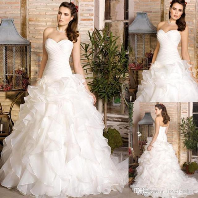 fc3be5cbc2aa New Hot Divina Sposa 2014 robes de mariée avec chérie volants Backless une  ligne tribunal Train