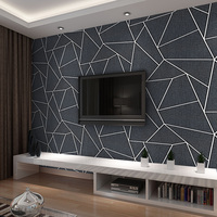 Fashion geometry 3D stereo striped television background wall paper modern simple living room sofa film wall non woven wallpaper