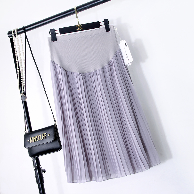 BONJEAN New Spring Maternity Skirts Fashion Chiffon Care Belly A-Line Pleated Skirt High Waist Black And Gray Pregnancy Clothes high waist faux leather pleated skirt