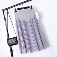 BONJEAN New Spring   Maternity   Skirts Fashion Chiffon Care Belly A-Line Pleated Skirt High Waist Black And Gray Pregnancy Clothes
