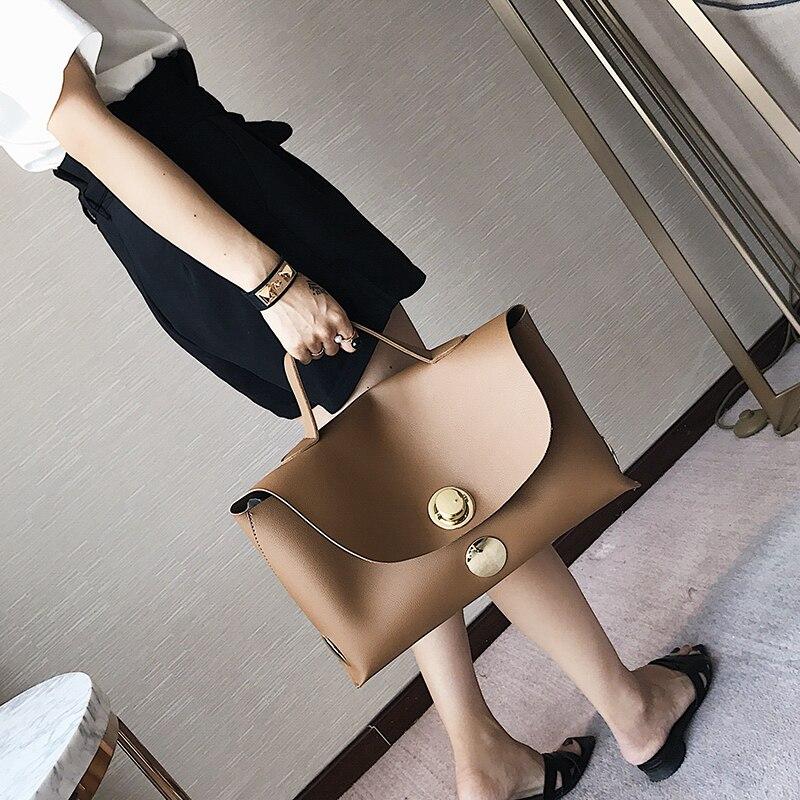 Bolsa feminina moda lockbutton 2020 sacos grandes formal all-match chefe para bolsa breve bolsa