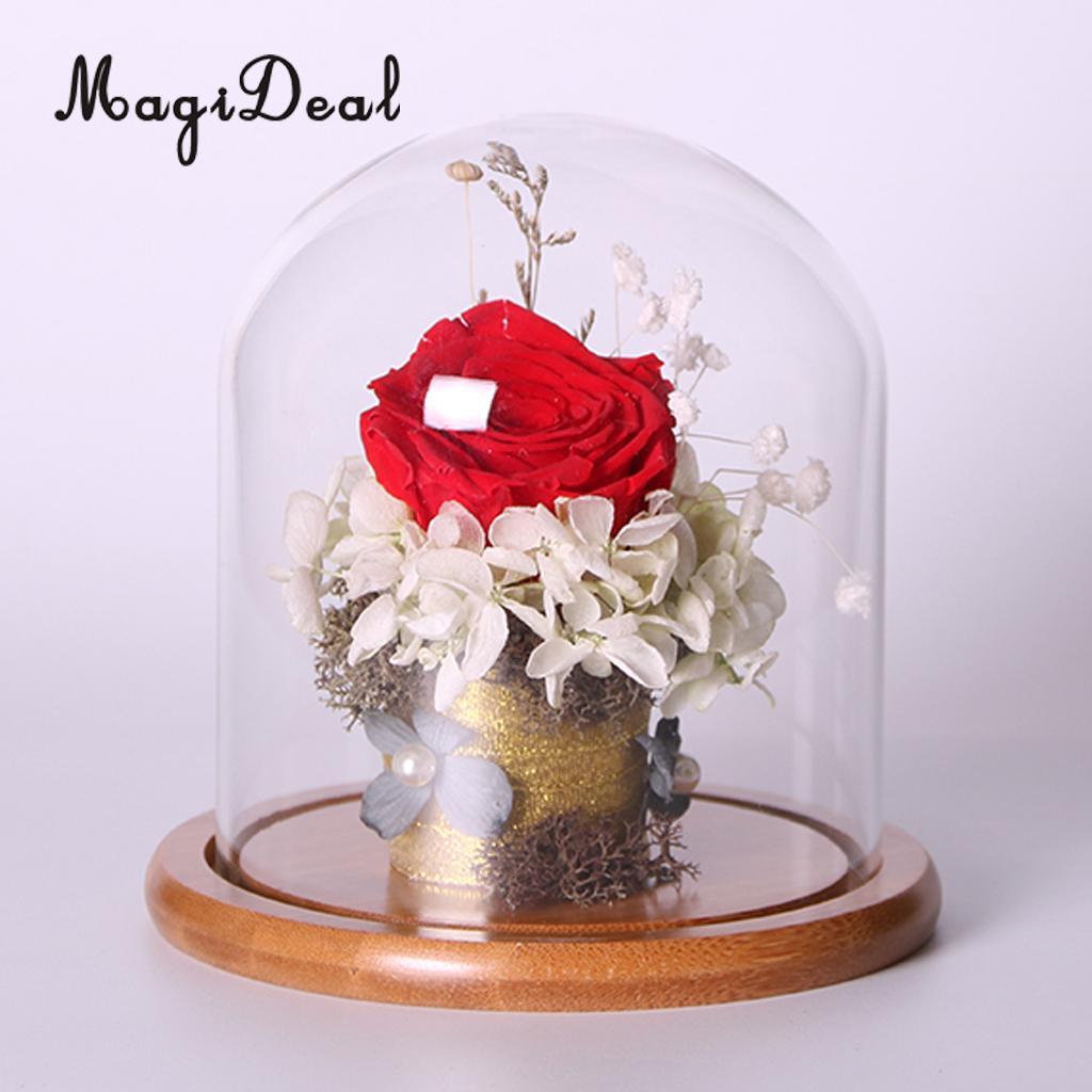 magideal tampa do vaso paisagem terrrio vaso de vidro bandeja de bambu planta flor decor presente s - Flor Decor