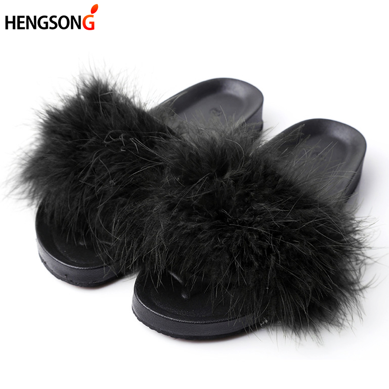 Women Fur Slippers Furry Slide Ostrich Feather Home Slippers Fashion Flip Flops Beach Sandals Summer Women Flats Home Shoes flat fur women slippers 2017 fashion leisure open toe women indoor slippers fur high quality soft plush lady furry slippers