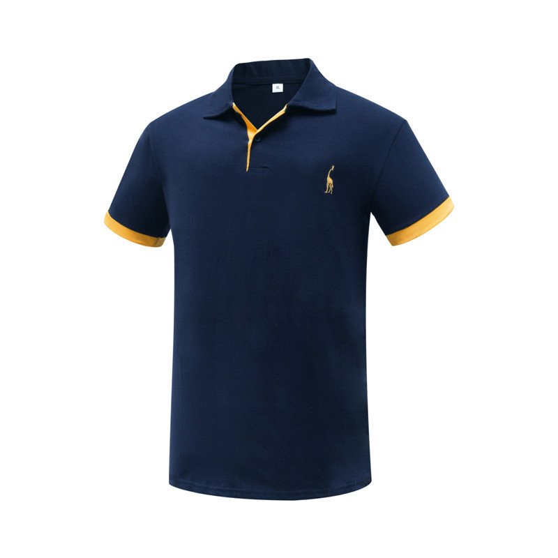 Europe Size Summer Short Sleeve Solid Polo Shirt Men Cotton Print Slim Casual Polos Breathable Embroidery Shirt