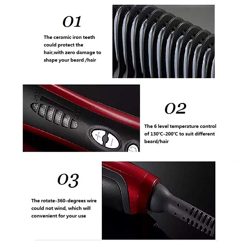 Beard Straightener Portable Men Fast Beard Comb And Ceramic Heating  Comb For Man 8
