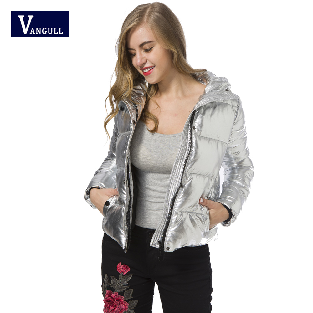 цены The 2017 winter hot explosion models of female cotton pure bright Hooded Coat all-match silver white metallic Biker Jacket