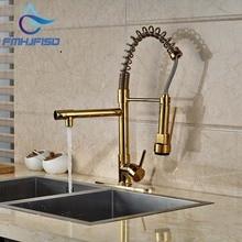 Современные PVD золото Кухня кран Dual носики весной раковина смеситель + отверстие крышки