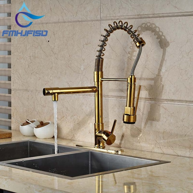 Modern PVD Gold Finish Kitchen Faucet Dual Spouts Spring Sink ...