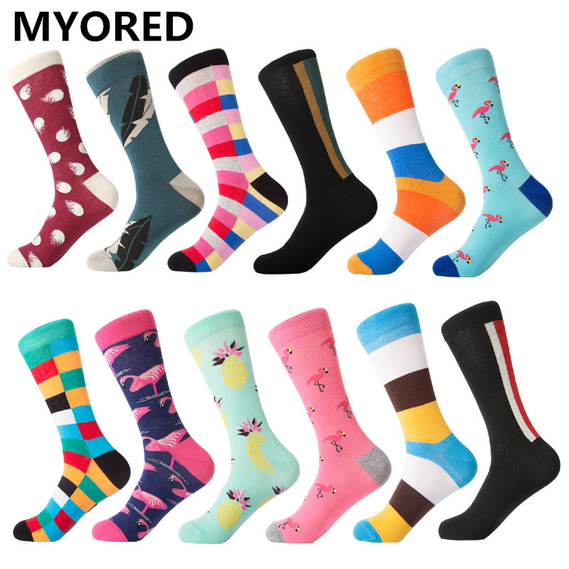 Underwear & Sleepwears 1 Pair Funny Men Socks Color Combed Happy Cotton Mens Socks Casual With Print Knitting Funny Cartoon Animal Novelty Crew Dress Beautiful And Charming