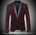2017 Blazers Vermelhos Masculino Luxo Barroco Royal Ternos Slim Fit Traje Homme Maillot Homme Jaquetas Ternos de Vestido Jantar de Fumar