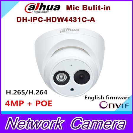 ФОТО 2016 New arrival Dahua IPC-HDW4431C-A 4MP Full HD Network IR Mini Camera POE Built-in MIC cctv network dome DH-IPC-HDW4431C-A