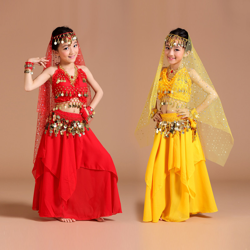 2017 New girls Belly Dance Costume Coin Bollywood Indian Belly dance Costumes 2-3-4-5pcs Sets 5 kind colors