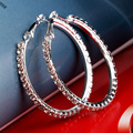 Fashion Silver Plated Brand Loop Earrings Female Big Circle Large Round Hoop Earring Tiny Rhinestone Crystal Creole Earrings