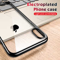 Ultra Thin Plating TPU Case For iPhone XS Max XR X 7 8 6S Plus Transparent Clear Soft Silicone Protective Back Cover Case Fundas