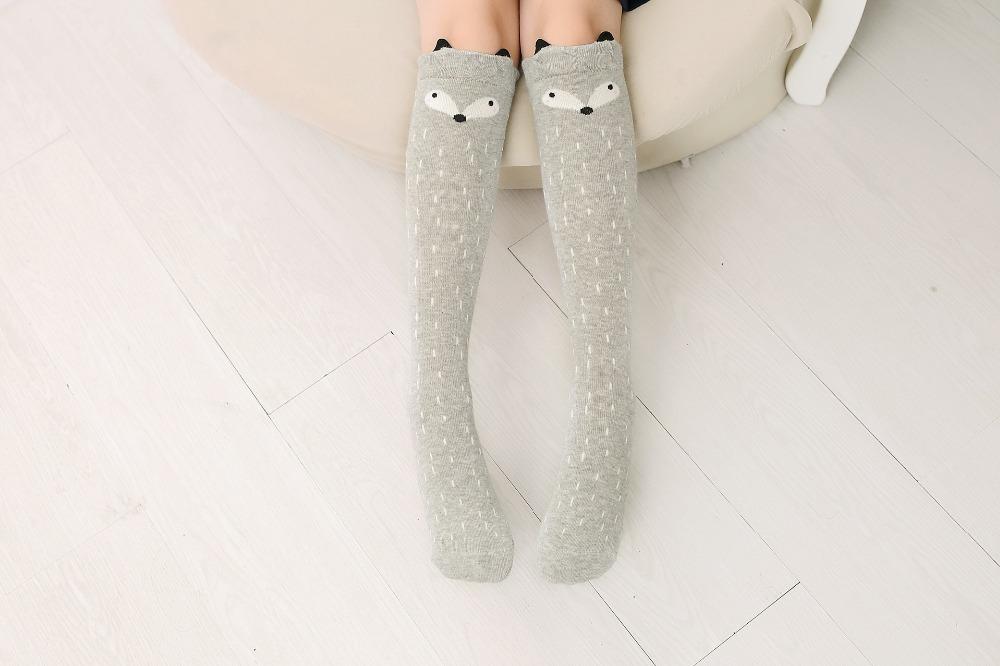 2017 Nowa Wiosna Jesień Dzieci Skarpetki Bawełniane Drukowanie 3D Kot Moda Cartoon Niedźwiedź Taniec Skarpetki Maluchy Dziewczynek Knee Socks 5