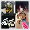 104E  Gold Letter CG Laser Cut Acrylic Earring    Acrylic Stud Earring  8pairs/lot