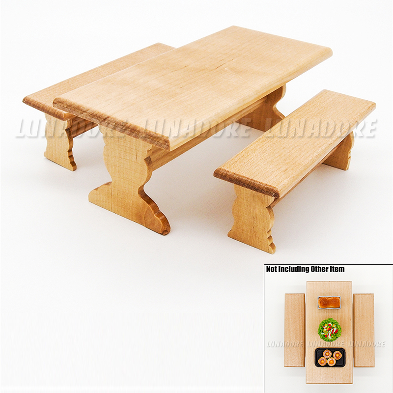 Odoria 112 Miniature Wooden Long Dining Table And 2 Bench Set Dollhouse Furniture Accessories For Diningroom Garden Outdoor
