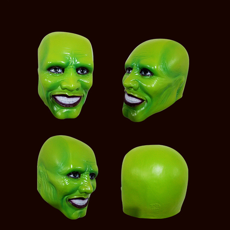Halloween The Mask Jim Carrey Cosplay Green Mask Costume Adult Fancy Dress Face Halloween Masquerade Party Cosplay Movies Mask image