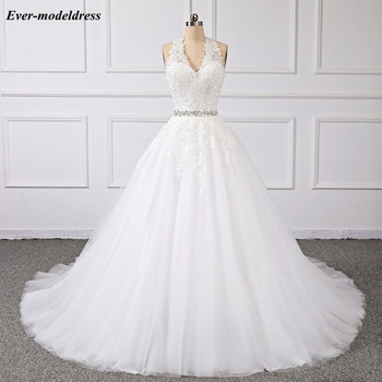 Vestido de noiva Lace Wedding Dresses 2019 V-Neck Backless Appliques Beaded Ball Gown Sweep Train Robe De Mariee Plus Size