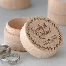 Пользовательское имя деревянные кольца коробка персонализированные свадьбы Бирде жениха подносителя колец Держатель Box деревенский Свадебные украшения mariage подарки