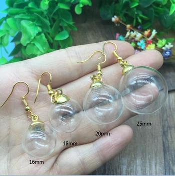 100sets(50pairs )16/18/20/25mm empty round ball handmade glass orb gold-color drop earrings charms set glass globe vial jewelry