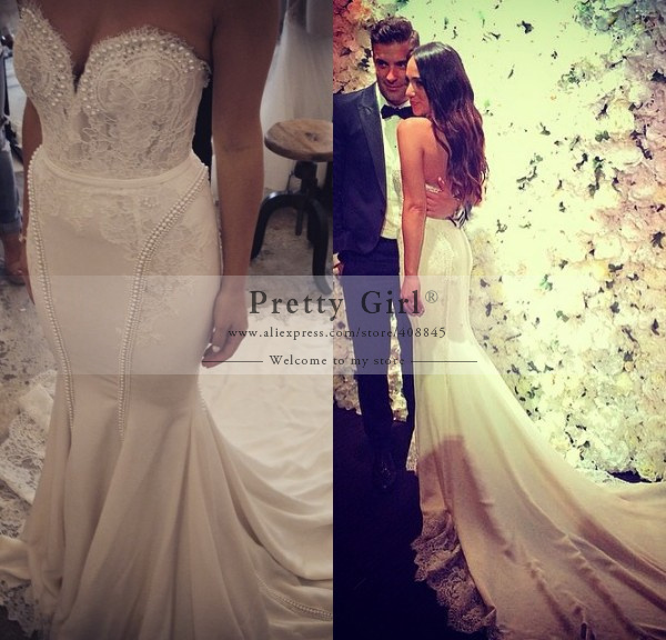 Elegant pearls beaded romantic mermaid wedding dresses for Romantic vintage lace wedding dresses