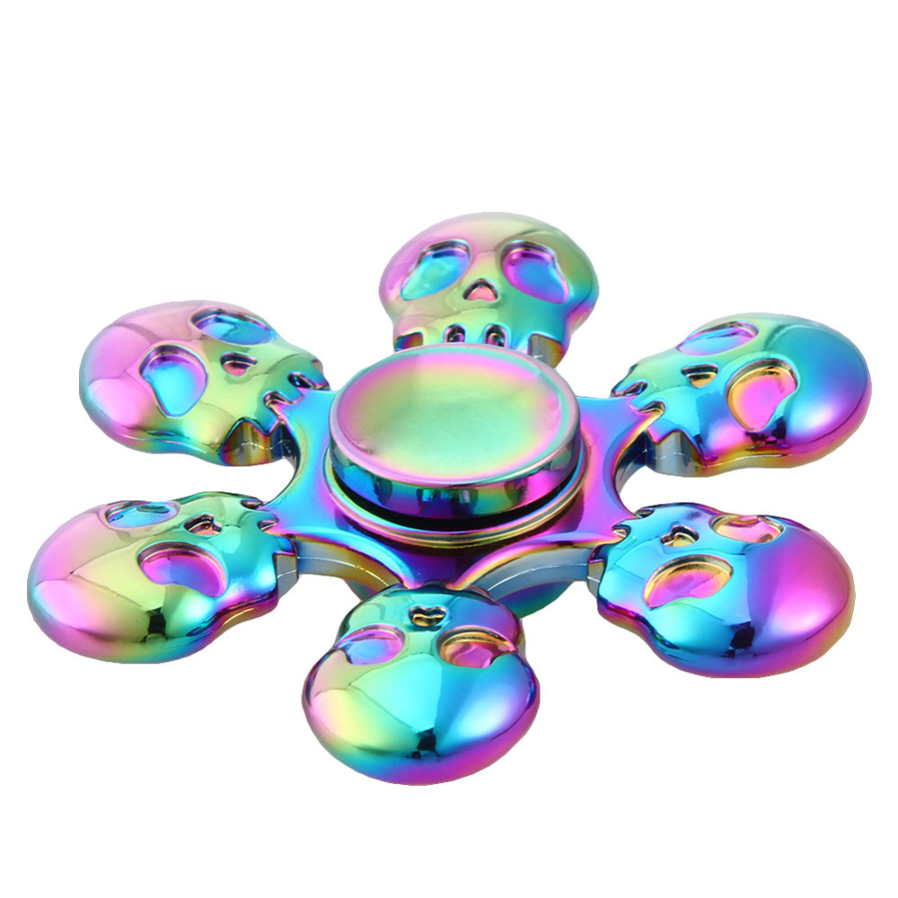 New Rainbow Skull Six Leaves  Arm Hand Spinner Tri-spinner For Adult To Reduce Pressure  Spinner