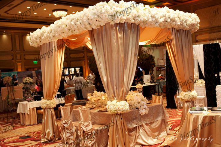 Luxury Wedding Outdoor Decorations Canopy Curtain In Champagne