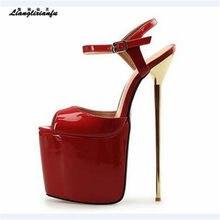 71d8380605b LLXF Summer platform zapatos Plus 46 47 48 Stiletto Open Toe Sandals dress Shoes  women 22cm thin High-Heeled female Buckle Pumps