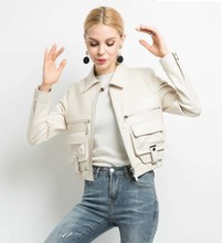 2019 new spring autumn fall fashion women's genuine sheepskin lambskin leather coat lady short motorcycle jacket white black xxl